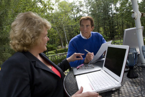 LEFT Janet Ritter (cq) Senior Consultant RIGHT Brad Ritter (cq) President,Brad Ritter Communications. They are on thier back patio going over projects.9/9/08